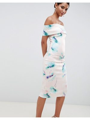 City Goddess floral off shoulder pencil midi dress