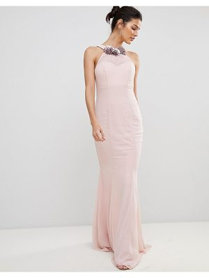 City Goddess Halter Neck Chiffon Maxi Dress With Flower Detail
