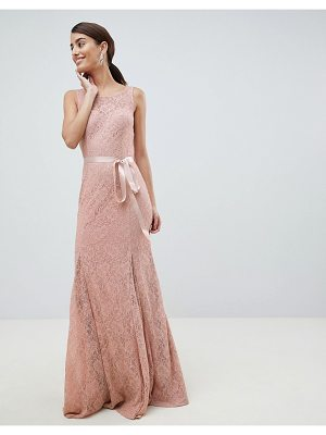 City Goddess Lace Maxi Dress With Satin Belt