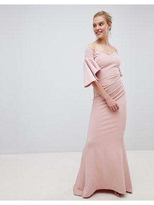 City Goddess Long Sleeve Bardot Maxi Dress