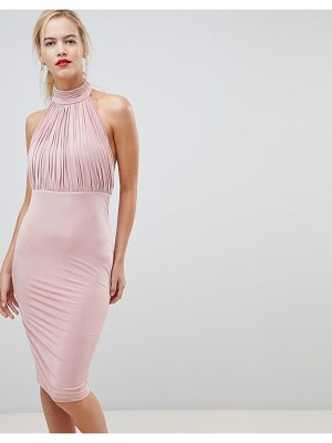 City Goddess pleated high neck dress