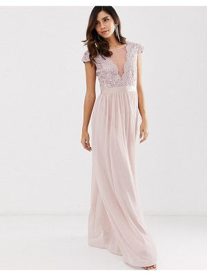 City Goddess pleated maxi dress with lace and mesh detail