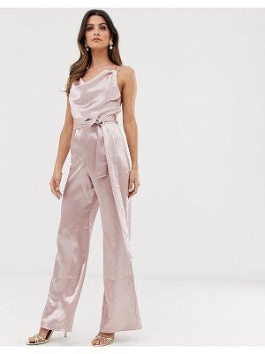 City Goddess satin cowl neck jumpsuit