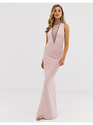 City Goddess stephanie pratt high neck cut out embellished maxi dress