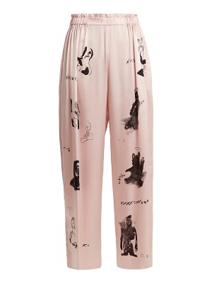 CLAIRE BARROW dog print wide leg silk satin trousers