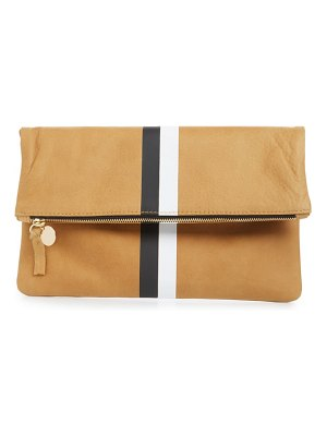 Clare V. center stripe leather foldover clutch