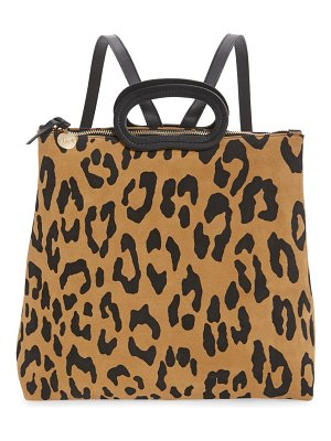 Clare V. marcelle animal print suede backpack