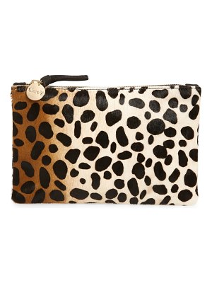 Clare V. zip top genuine calf hair clutch