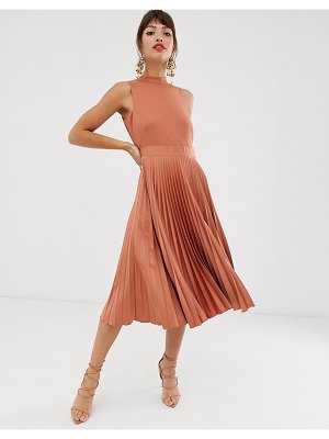 Closet London closet pleated skirt midi dress in rust-brown