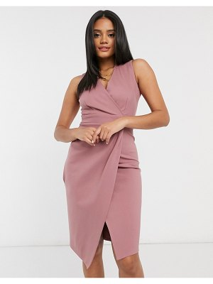 Closet London gathered wrap midi dress in mink-pink