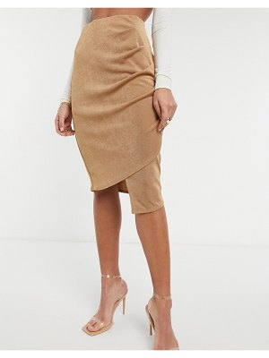 Closet London gathered wrap midi skirt in camel-neutral