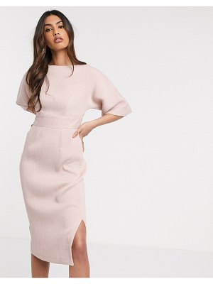 Closet London kimono sleeve midi dress in blush-pink