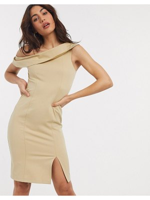 Closet London off shoulder pencil dress with split in taupe-brown
