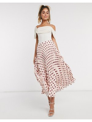 Closet London pleated midi skirt in blush polka dot print-pink