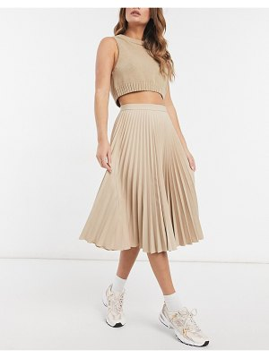 Closet London pleated midi skirt in stone-neutral