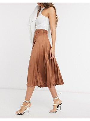 Closet London pleated satin midi skirt in soft brown