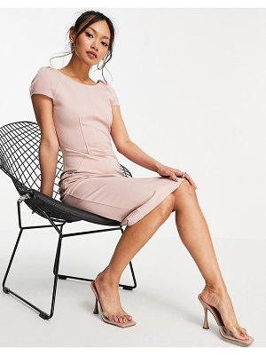 Closet London puff shoulder pencil dress with bodice detail in blush-pink