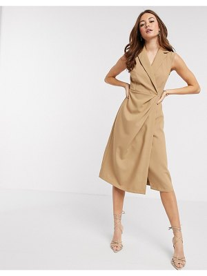 Closet London wrap midi dress in camel-brown