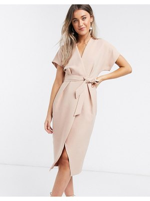 Closet London wrap tie midi dress in blush-pink