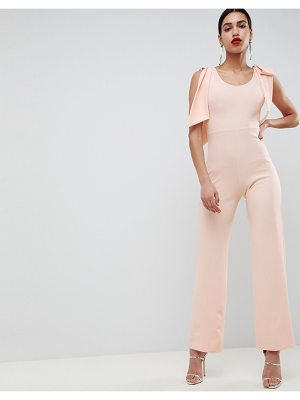 Club L Bow Shoulder Detailed Crepe Jumpsuit