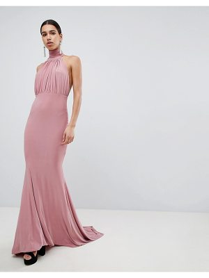 Club L Bridesmaid Halterneck High Neck Fishtail Maxi Dress