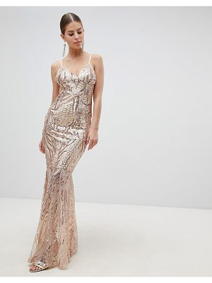 Club L fully embellished sequin cami strap fishtail maxi dress