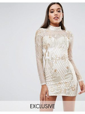 Club L High Neck Embellished Mini Dress
