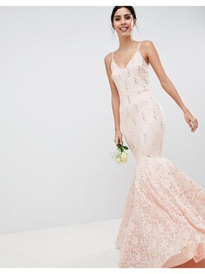 CLUB L Lace Bandeau Fishtail Maxi Dress With Sequin Detail