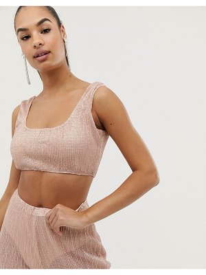 Club L London club l plisse sequin crop top