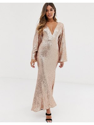 Club L London club l sequin plunge kimono sleeve fishtail maxi dress