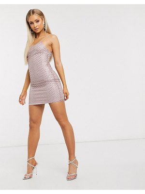 Club L London embellished overlay mesh cami mini dress in pale pink