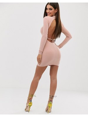 Club L London high neck long sleeve mini bodycon dress with open back thong detail in pink