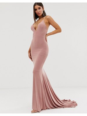 Club L London high strappy back fishtail maxi dress in pink