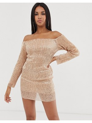 Club L London off shoulder long sleeve sequin mini dress in rose gold