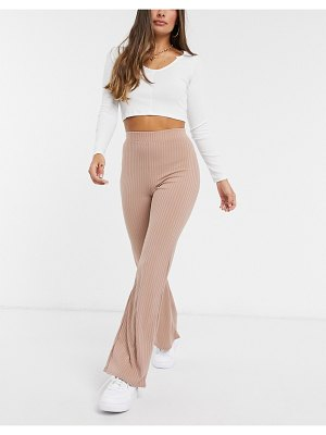 Club L London ribbed wide leg pants two-piece in camel-beige