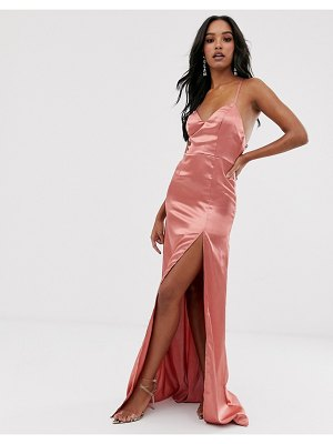 Club L London satin plunge front maxi dress with high thigh split in rose pink