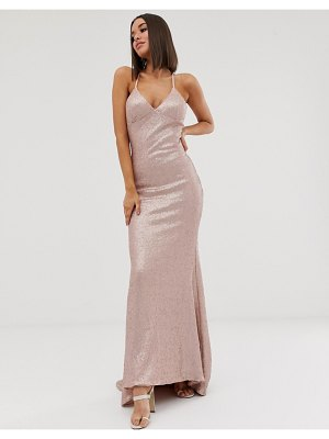 Club L London sequin cami fishtail maxi dress in pink