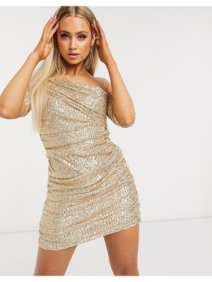 Club L London sequin drape one shoulder mini dress in gold