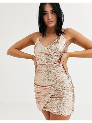Club L London sequin wrap front asymmetric mini dress in rose gold-pink