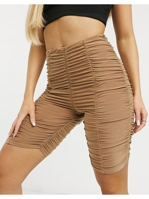 Club L London slinky ruched detail body-conscious short in camel-beige