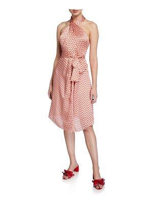 Club Monaco Bizbee Printed Satin Halter Dress