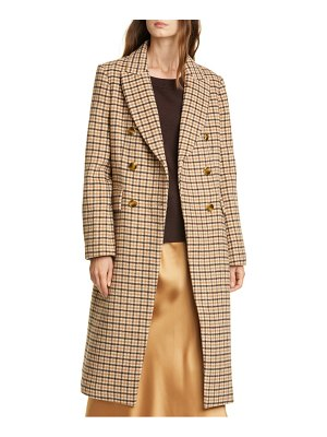 Club Monaco jemma plaid double breasted wool blend coat
