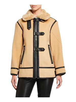 Club Monaco Mixed Media Moto Coat