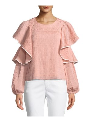 CLUB MONACO Ribbone Ruffle Blouson-Sleeve Blouse