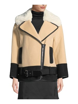 Club Monaco Rismah Zip-Front Wool Coat with Faux-Fur Collar