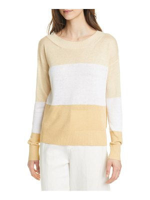 Club Monaco stripe boatneck linen blend sweater