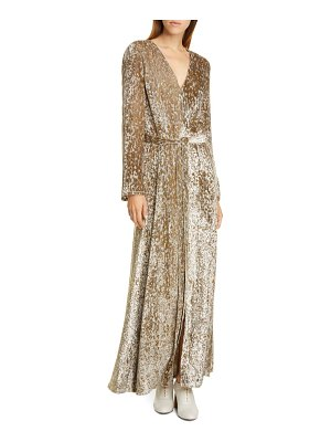 Co. belted long sleeve metallic velvet gown
