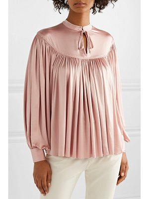 Co. gathered stretch-sateen blouse