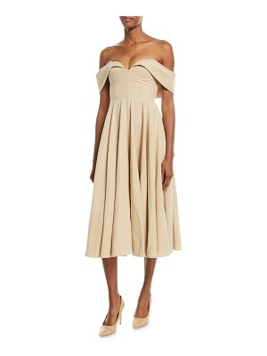 Co. Off-the-Shoulder Bustier Cotton-Linen Tea-Length Cocktail Dress