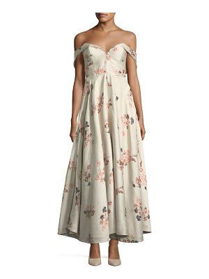 Co. Off-the-Shoulder Bustier Floral-Jacquard Tea-Length Cocktail Dress